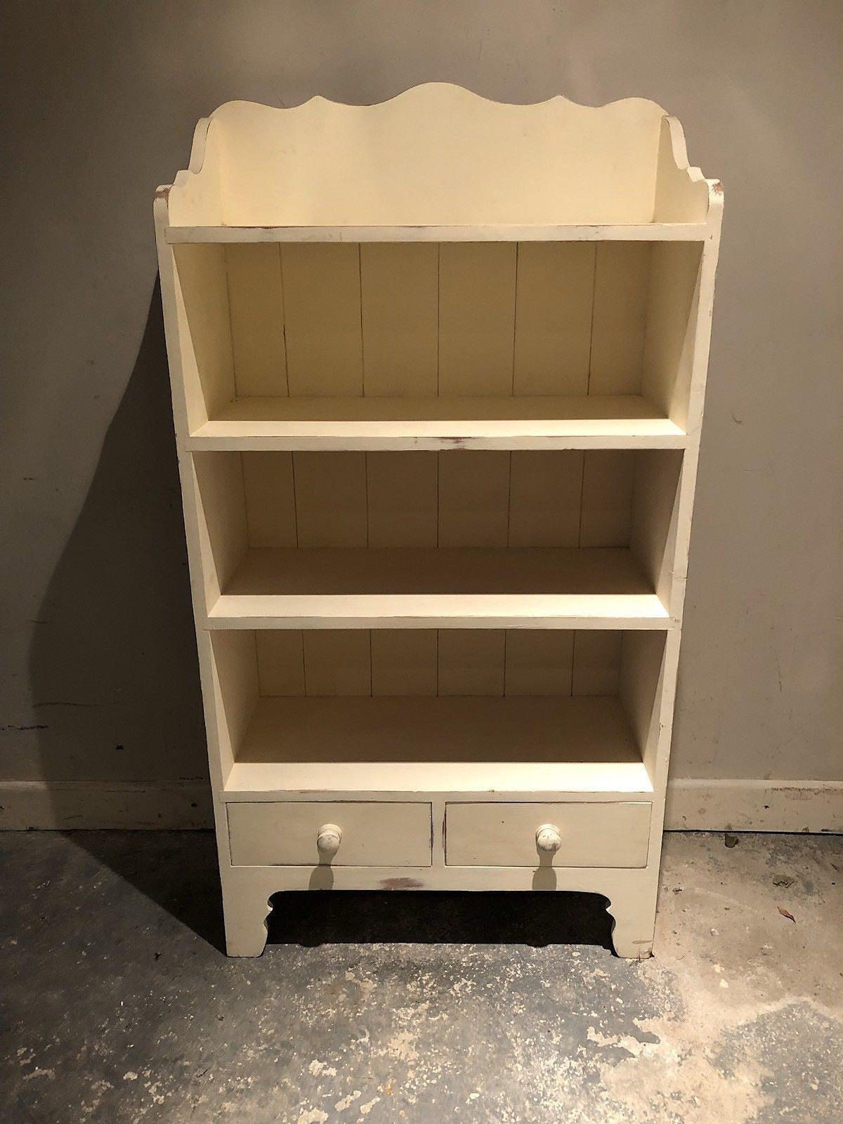 Pine Painted Cream Small Bookshelf With 2 Bottom Drawers