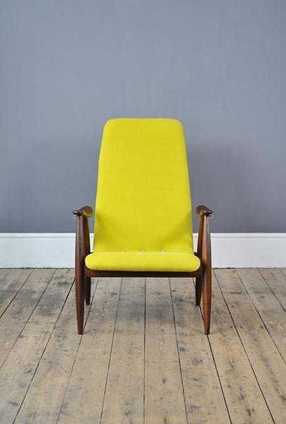 Yellow High Back Armchair