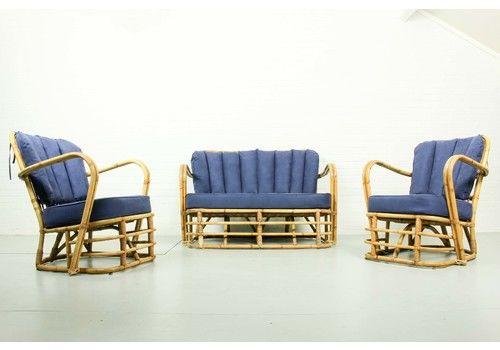 Rare Midcentury Rattan Living Room Set