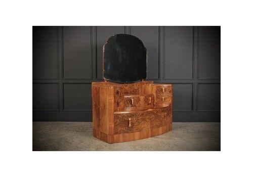 Walnut Art Deco Dressing Table Chest