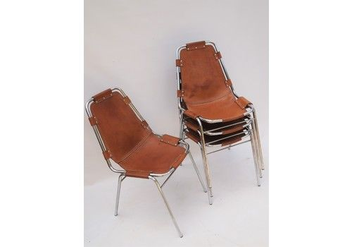 Set Of Four Chrome And Leather Stacking Chairs By Charlotte Perriand For Dal Vera