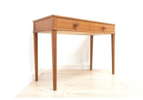 Midcentury Vintage Teak Swedish Console Side Table With Drawers