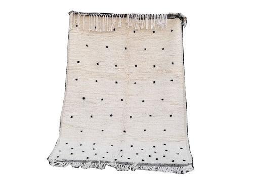 6.2x4.1 Ft White Black  Handmade Moroccan Rug. Berber Beni Ouarain Rug 100%Wool