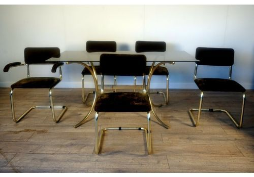 Vintage Retro Italian Marcel Breuer 5 Cesca Chairs And Smoked Glass And Gold Chr