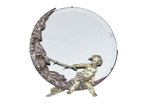 Period Art Deco Bronze And Brass Table Mirror