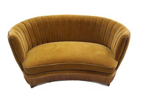 Danish Cabinetmaker Banana Curved Sofa, 1950s