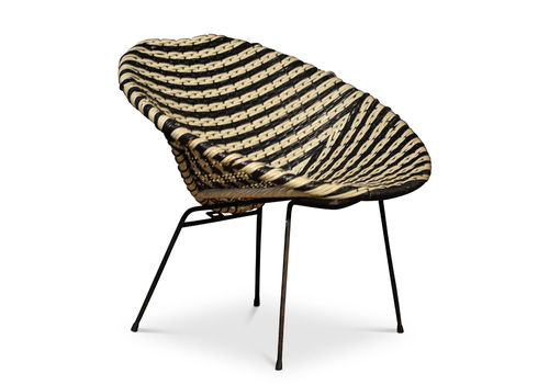 Basket Chair A Rattan Woven Two Tone Cocktail Chair In The Style Of Dirk Van Sliedregt In A Black And White Colourway