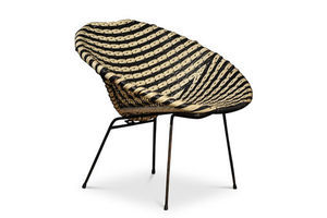 Thumb basket chair a rattan woven two tone cocktail chair in the style of dirk van sliedregt in a black and white colourway 0