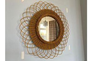 Thumb vintage large french rattan bamboo sunburst mirror 1960s 0