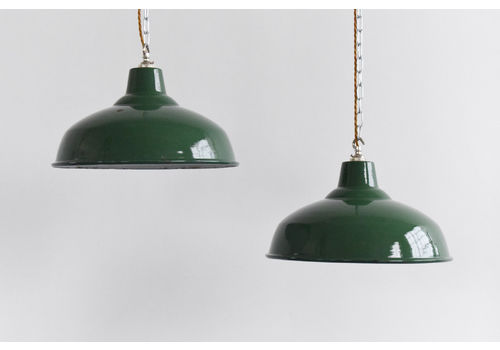 Vintage Industrial Green Enamel Pendant Light Shade