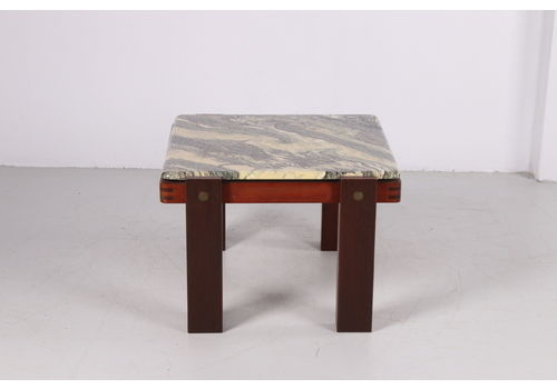 Brutalist Coffee Table With Marble Top And Hardwood Base 1960s