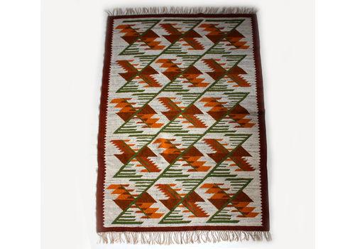 Mid Century Wool Geometric Carpet From Cepelia, 1960s