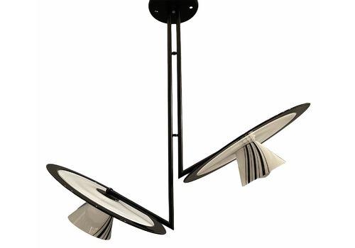Large Black And White Murano Glass Light Pendant