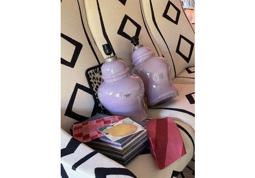 Tommaso Barbi Lilac Pearlescent Murano Glass Lamps