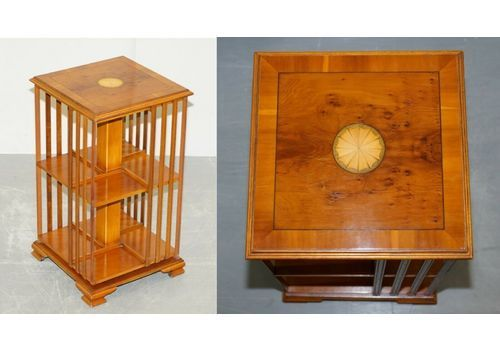 Small Burr Walnut Sheraton Inlaid Revolving Bookcases Side Table Sized
