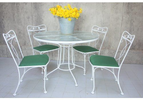 Mid Century Metal Garden Table With Glass Top And Four Metal Chairs