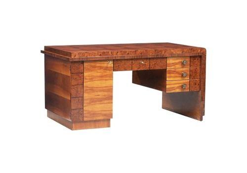 Art Deco French Walnut Root Veneer Desk
