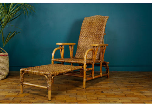 Vintage French Wicker Reclining Chair