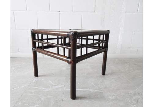 Bamboo Coffee Table With Rattan And Smoked Glass