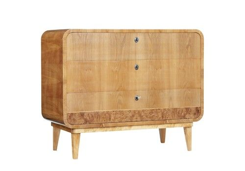 Swedish Mid 20th Century Shaped Elm Chest Of Drawers