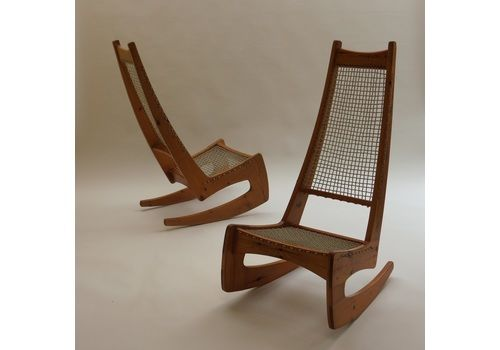 1970s Jeremy Broun Pine Sculptural Rocking Chair 2 Available