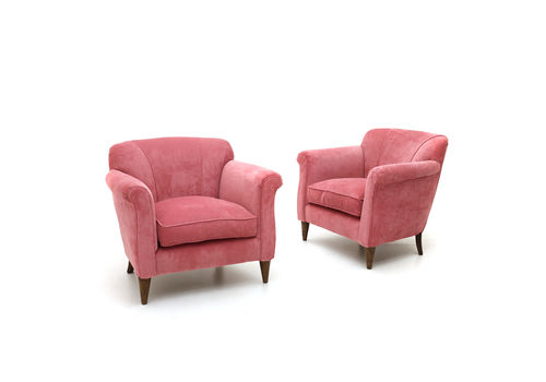 Pair Of Pink Velvet Armchairs, 1940's