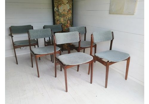 Mid Century Set Of 6 Danish Dining Chairs By Erik Buch For O.D. Mobler 50s