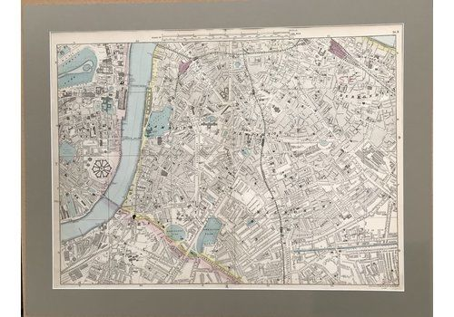 Large Mounted 1880 Street Plan Of Southwark By Bacon.