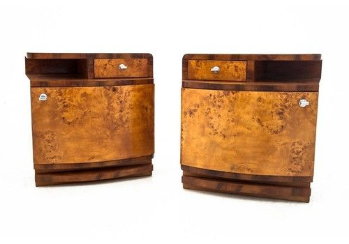 Art Deco Bedside Tables, Poland, 1950s. After Renovation.