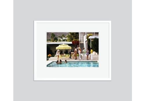 Slim Aarons 'Poolside Party' 1970 C Type Print Framed In White