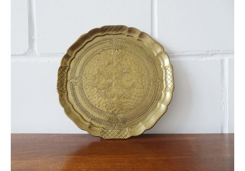 Signed Brass Tray With Art Nouveau Ornaments