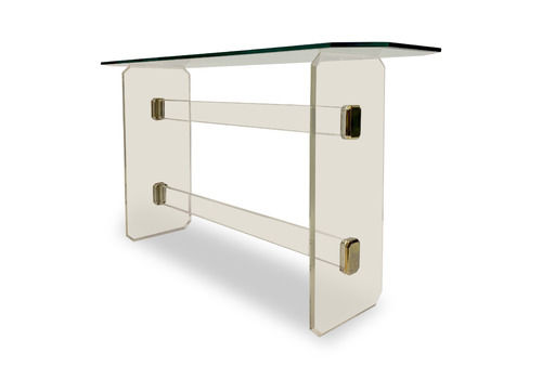 1980s French Lucite And Brass Console