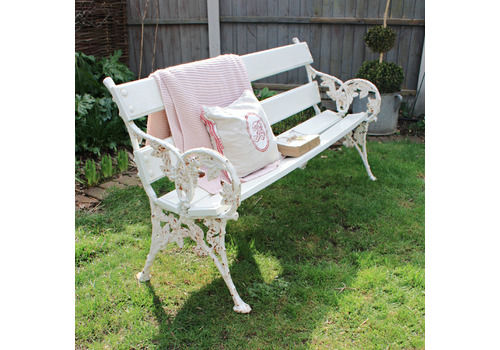 Old Vintage White Painted Garden Bench With Decorative Cast Iron Blackberry Detail Ends