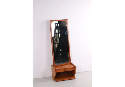 Teak Wooden Corridor Set Mirror With Floating Chest Of Drawers 1960s
