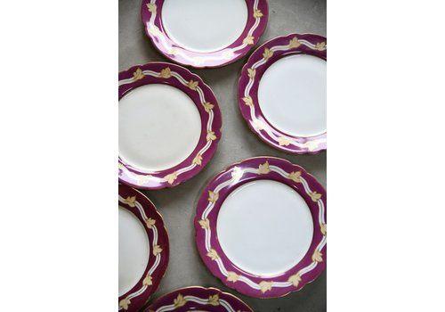 6 Vintage Leaf Plates