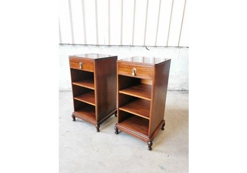 A Pair Of Antique Solid Mahogany Edwardian Bedside Lamp Tables