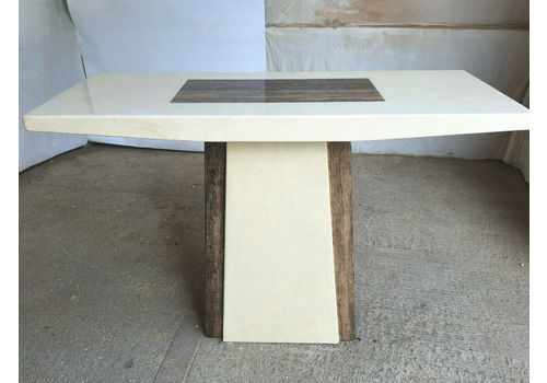 Faux Marble Pedestal Art Deco Stye Hall Table Console Table Table Cream Brown