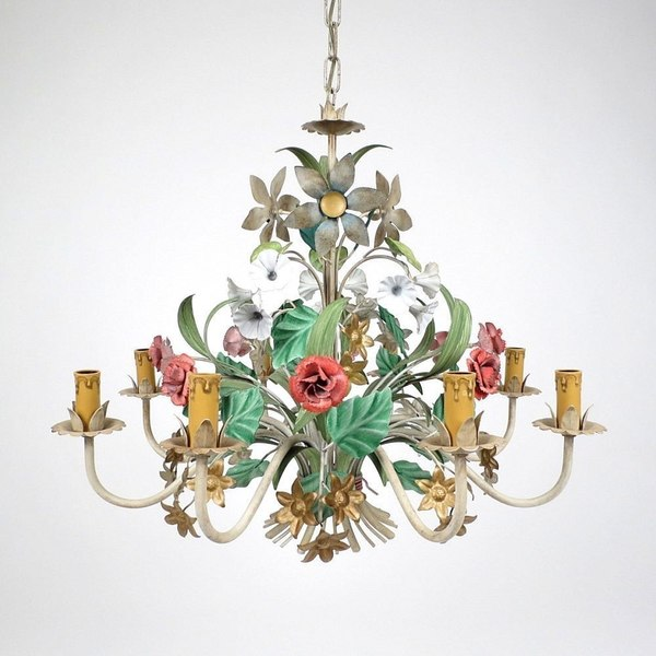 Italian Painted Metal 8 Arms Chandelier, 1960s