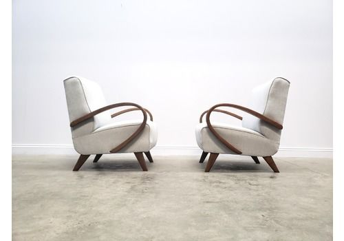 One Left Only   1950 Frantisek Jirak Bentwood Armchairs In Light Grey Upholstery