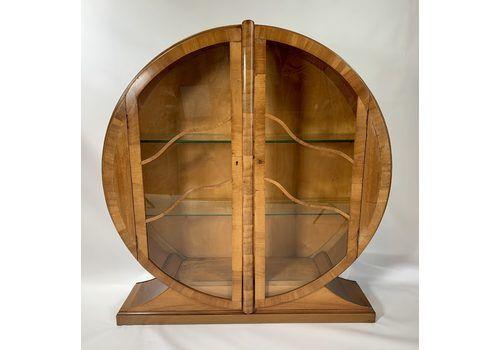 Art Deco Circular Walnut Display Cabinet