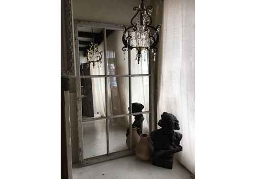 Large Antique Full Length French Industrial Window Frame Mirror Orangery
