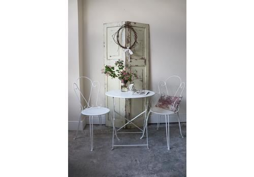 Restored White Vintage French Folding Garden Table And Chairs Set In Farrow And Ball Pointing