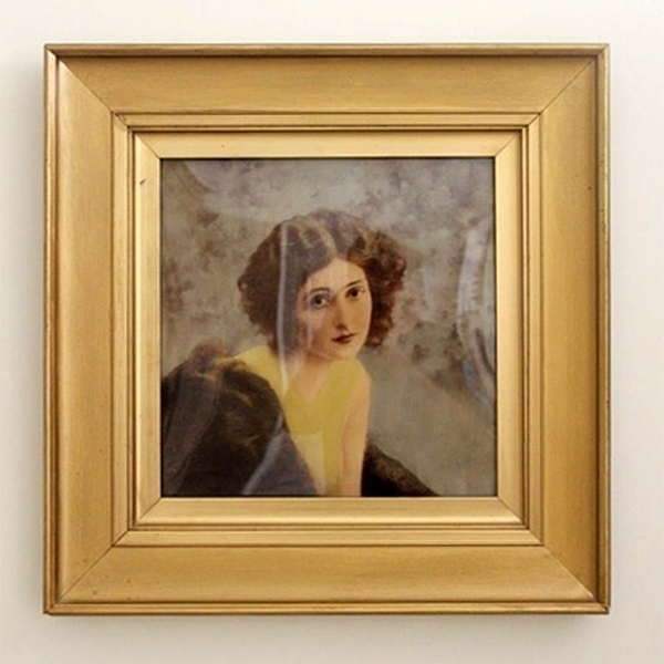 1920s Verre Eclomise Painting Of A Woman photo 1