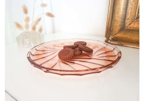 Pink Glass Tray Art Deco Trivet Vintage Tableware Girly Wedding Decoration Party Meal Hors D'oeuvre Deco