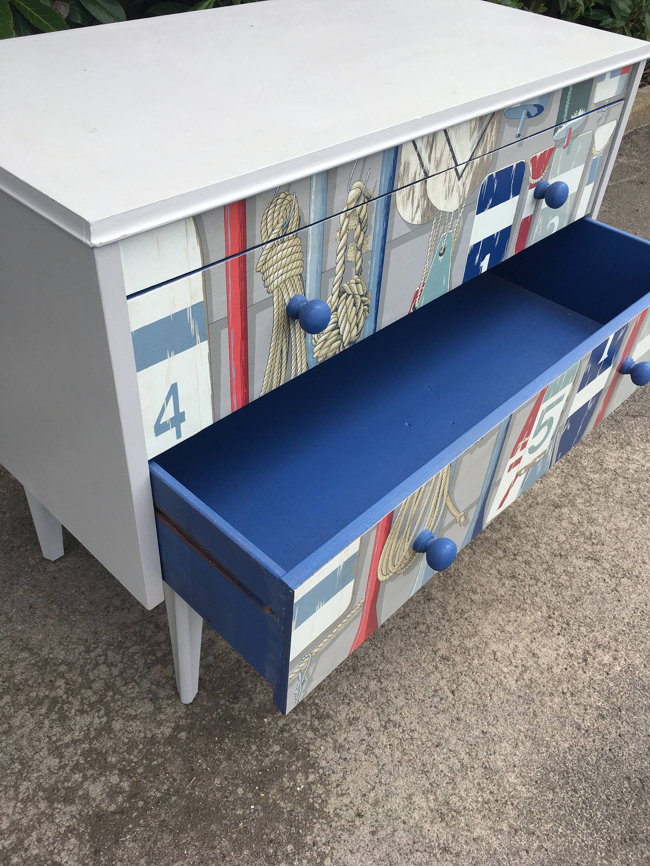Stunning Beach Sea Themed Chest Of Drawers Decoupaged Mid Century Vinterior