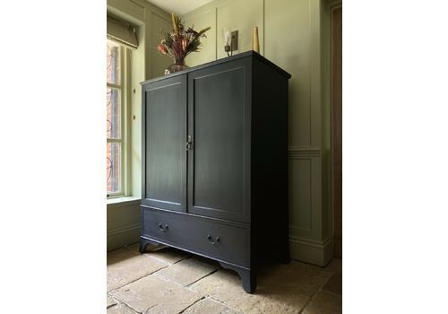 Antique Black Painted Mahogany Linen Press Cupboard