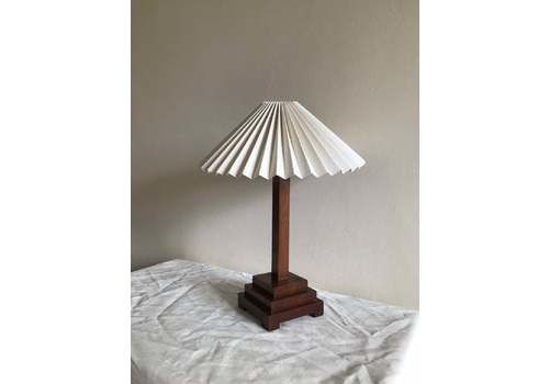 Art Deco Table Lamp In Wooden Stepped Design