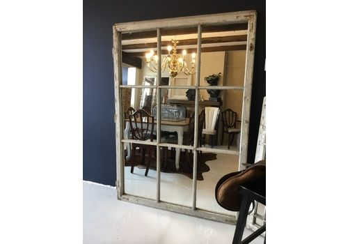 Large Floor Standing Antique French Industrial Window Frame Mirror 175cm H X 127cm W