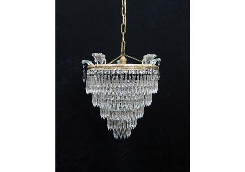 Italian Art Deco Five Tier Crystal Glass Chandelier