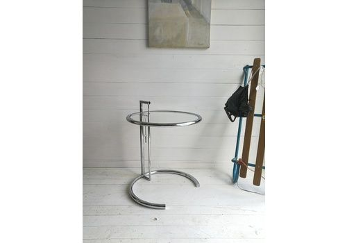Mid Century E 1027 Side Table By Eileen Gray Vntg Adjustable Chrome And Glass